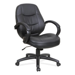 Alera® Alera PF Series Mid-Back Leather Office Chair, Supports up to 275 lbs., Black Seat/Black Back, Black Base