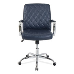 Mid-Back Diamond-Embossed Leather Office Chair Navy Blue Seat 275lb Capacity