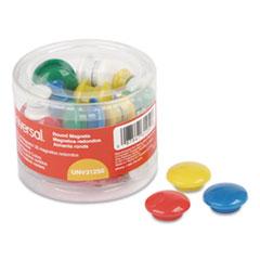 "Universal® Assorted Magnets, Plastic, 5/8"" dia, 1"" dia, 1 5/8"" dia, Asst Colors, 30/Pack"