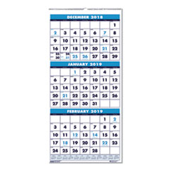 recycled three month format wall calendar 12 14 x 26 14