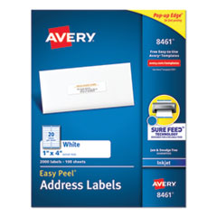 Avery® Easy Peel White Address Labels w/ Sure Feed Technology, Inkjet Printers, 1 x 4, White, 20/Sheet, 100 Sheets/Box