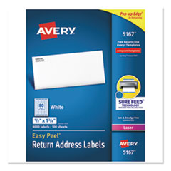 Avery® Easy Peel White Address Labels w/ Sure Feed Technology, Laser Printers, 0.5 x 1.75, White, 80/Sheet, 100 Sheets/Box