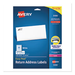 Avery® Easy Peel White Address Labels w/ Sure Feed Technology, Laser Printers, 0.66 x 1.75, White, 60/Sheet, 25 Sheets/Pack