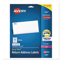 Avery® Easy Peel White Address Labels w/ Sure Feed Technology, Laser Printers, 0.5 x 1.75, White, 80/Sheet, 25 Sheets/Pack