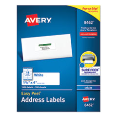 Avery® Easy Peel White Address Labels w/ Sure Feed Technology, Inkjet Printers, 1.33 x 4, White, 14/Sheet, 100 Sheets/Box