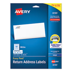 Avery® Easy Peel White Address Labels w/ Sure Feed Technology, Inkjet Printers, 0.66 x 1.75, White, 60/Sheet, 25 Sheets/Pack