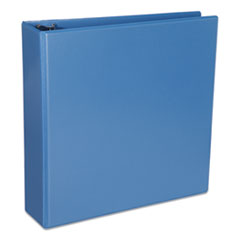 "Universal® Deluxe Round Ring View Binder, 3 Rings, 2"" Capacity, 11 x 8.5, Light Blue"