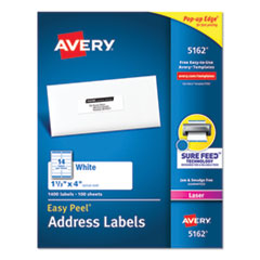 Avery® Easy Peel White Address Labels w/ Sure Feed Technology, Laser Printers, 1.33 x 4, White, 14/Sheet, 100 Sheets/Box