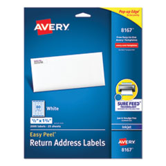 Avery® Easy Peel White Address Labels w/ Sure Feed Technology, Inkjet Printers, 0.5 x 1.75, White, 80/Sheet, 25 Sheets/Pack