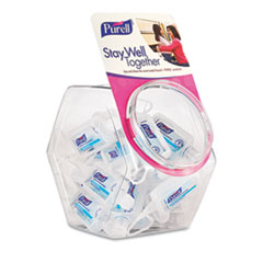 PURELL® Advanced Refreshing Gel Hand Sanitizer, Clean Scent, 1 oz Flip-Cap Bottle with Jelly Wrap Carrier and Display Bowl, 25/Bowl