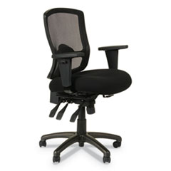 Alera Etros Series Mesh Mid-Back Petite Multifunction Chair, Supports up to 275 lbs., Black Seat/Black Back, Black Base