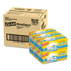 "Glad® OdorShield Medium Quick-Tie Trash Bags, 8 gal, 0.57 mil, 21.63"" x 23"", White, 156/Carton"
