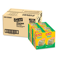 "Glad® Recycling Tall Kitchen Drawstring Trash Bags, 13 gal, 0.9 mil, 24"" x 27.38"", Clear, 180/Carton"