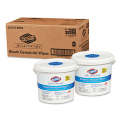 Clorox® Healthcare® Bleach Germicidal Wipes, 12 x 12, Unscented, 110/Canister, 2/Carton