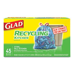 "Glad® Tall Kitchen Blue Recycling Bags, 13 gal, 0.9 mil, 27.38"" x 24"", Translucent Blue, 45/Box"
