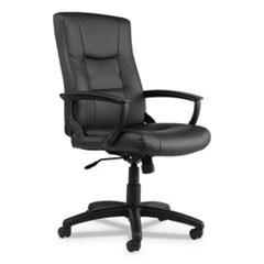 Alera® Alera YR Series Executive High-Back Swivel/Tilt Bonded Leather Chair, Supports up to 275 lbs, Black Seat/Back, Black Base