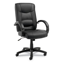 Alera® Alera Strada Series High-Back Swivel/Tilt Top-Grain Leather Chair, Supports up to 275 lbs, Black Seat/Black Back, Black Base