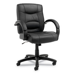 Alera® Alera Strada Leather Mid-Back Swivel/Tilt Chair, Supports up to 275 lbs, Black Seat/Black Back, Black Base
