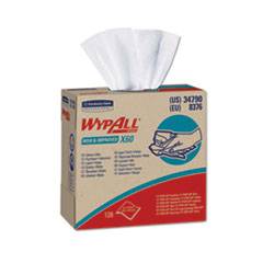 WypAll® X60 Cloths, POP-UP Box, White, 9 1/8 x 16 4/5, 126/Box