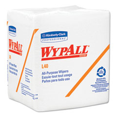 WypAll® L40 Towels, 1/4 Fold, White, 12 1/2 x 12, 56/Box, 18 Packs/Carton