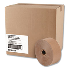 "Gummed Kraft Sealing Tape, 3"" Core, 2"" x 600 ft, Brown, 12/Carton"