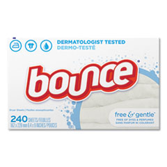 Bounce® Free and Gentle Fabric Softener Dryer Sheets, Unscented, 240/Box, 6 Box/Carton