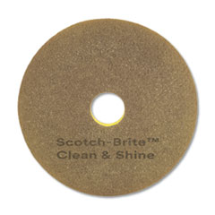 "Scotch-Brite™ Clean and Shine Pad, 17"" Diameter, Yellow/Gold, 5/Carton"
