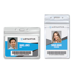 Advantus Resealable ID Badge Holder, Horizontal, 4.13 x 3.75, Clear, 50/Pack