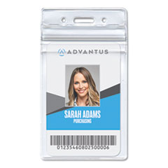 Resealable ID Badge Holder, Vertical, 2 7/8 x 4 5/16, Clear, 50/Pack