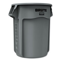 Rubbermaid® Commercial Round Brute Container, Plastic, 55 gal, Gray