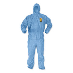 KleenGuard™ A60 Elastic-Cuff, Ankles & Back Hooded Coveralls, 3X Large, Blue, 20/Carton
