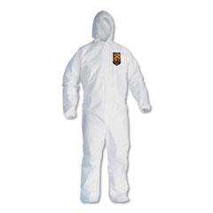 KleenGuard™ A30 Elastic Back and Cuff Hooded Coveralls, Medium, White, 25/Carton