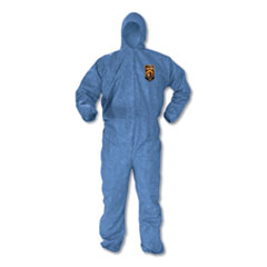 KleenGuard™ A60 Elastic-Cuff, Ankles and Back Hooded Coveralls, Blue, 2X-Large, 24/Carton