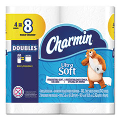 Charmin® Ultra Soft Bathroom Tissue, Septic Safe, 2-Ply, White, 4 x 3.92, 142 Sheets/Roll, 4 Rolls/Pack