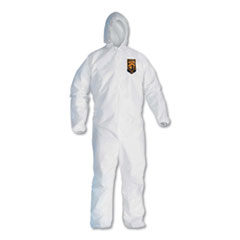 KleenGuard™ A30 Elastic-Back and Cuff Hooded Coveralls, White, X-Large, 25/Carton