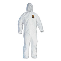 KleenGuard™ A40 Elastic-Cuff and Ankle Hooded Coveralls, White, Large, 25/Carton