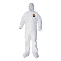 KleenGuard™ A40 Elastic-Cuff, Ankle, Hood and Boot Coveralls, Large, White, 25/Carton