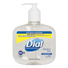 Dial® Professional Antimicrobial Soap for Sensitive Skin, 16 oz Pump Bottle, 12/Carton