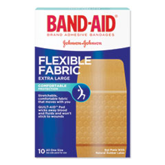 "BAND-AID® Flexible Fabric Extra Large Adhesive Bandages, 1.25"" x 4"", 10/Box"
