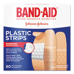BAND-AID® Plastic Adhesive Bandages, 3/4 x 3, 60/Box
