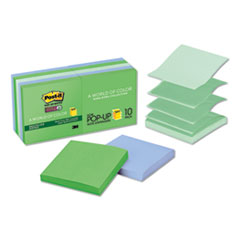 Post-it® Pop-up Notes Super Sticky Pop-up Recycled Notes in Bora Bora Colors, 3 x 3, 90-Sheet, 10/Pack