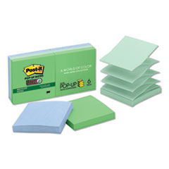 Pop-up Recycled Notes in Bora Bora Colors, 3 x 3, 90-Sheet, 6/Pack