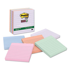 Post-it® Notes Super Sticky Recycled Notes in Bali Colors, Lined, 4 x 4, 90-Sheet, 6/Pack
