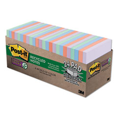 Post-it® Notes Super Sticky Recycled Notes in Bali Colors, 3 x 3, 70-Sheet, 24/Pack