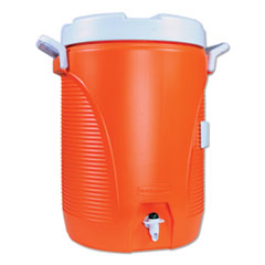 Rubbermaid® Commercial Insulated Water Cooler, 5 gal, 10 dia x 19.5 h, Orange/White