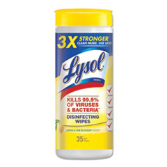 LYSOL® Brand Disinfecting Wipes, 7 x 8, Lemon and Lime Blossom, 35 Wipes/Canister, 12 Canisters/Carton