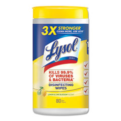 LYSOL® Brand Disinfecting Wipes, 7 x 8, Lemon and Lime Blossom, 80 Wipes/Canister
