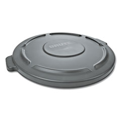 "Rubbermaid® Commercial Round Flat Top Lid, for 32 gal Round BRUTE Containers, 22.25"" diameter, Gray"