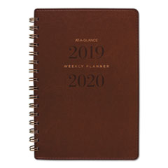AT-A-GLANCE® Signature Collection Academic Planner, 8 1/2 x 5 3/8, Distressed Brown,2019-2020