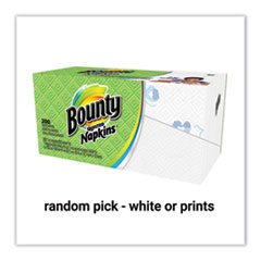 Bounty® Quilted Napkins, 1-Ply, 12 1/10 x 12, Assorted - Print or White, 200/Pack